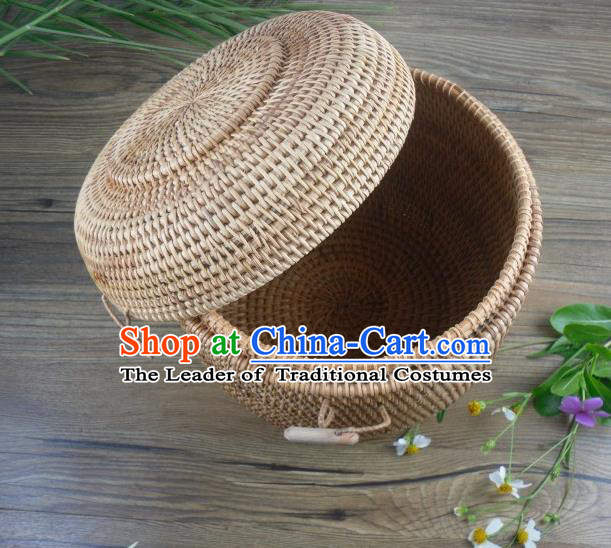 Top Asian Vietnamese Traditional Rattan Plaited Articles, Vietnam Tea Caddy Handicraft Canister