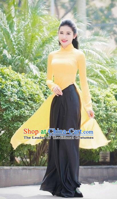 Top Grade Asian Vietnamese Traditional Dress, Vietnam Bride Ao Dai Dress, Vietnam Princess Wedding Yellow Dress and Loose Pants Cheongsam Clothing for Women