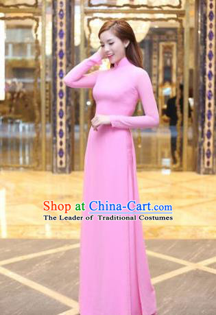 Top Grade Asian Vietnamese Traditional Dress, Vietnam Bride Ao Dai Dress, Vietnam Princess Wedding Pink Dress Cheongsam Clothing for Women