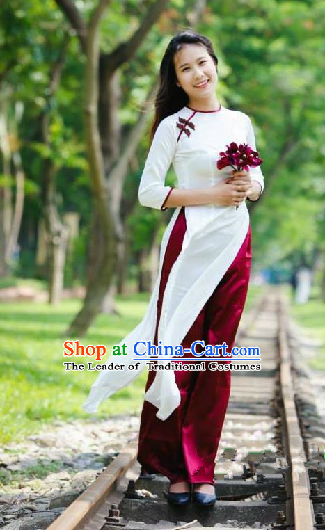 Top Grade Asian Vietnamese Traditional Dress, Vietnam Bride Ao Dai Dress, Vietnam Princess Wedding White Silk Dress and Loose Pants Cheongsam Clothing for Women