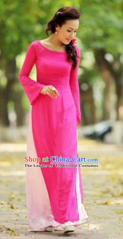 Top Grade Asian Vietnamese Traditional Dress, Vietnam Ao Dai Dress, Vietnam Princess Rose Dress and Pants Cheongsam Clothing for Women