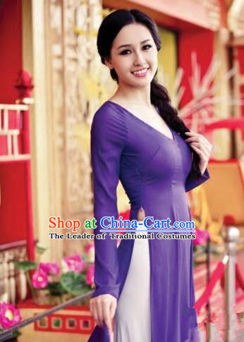 Top Grade Asian Vietnamese Traditional Dress, Vietnam Ao Dai Dress, Vietnam Princess Silk Purple Dress and Pants Cheongsam Clothing for Women