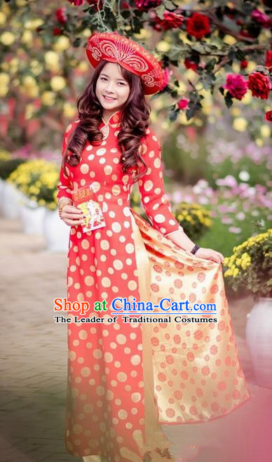 Top Grade Asian Vietnamese Traditional Dress, Vietnam National Ao Dai Dress, Vietnam Princess Silk Red Dress and Pants Hats Complete Set Cheongsam Clothing for Women