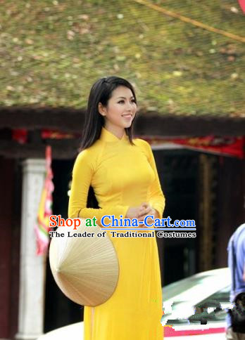 Top Grade Asian Vietnamese Traditional Dress, Vietnam National Ao Dai Dress, Vietnam Princess Silk Yellow Dress and Pants Hats Complete Set Cheongsam Clothing for Women