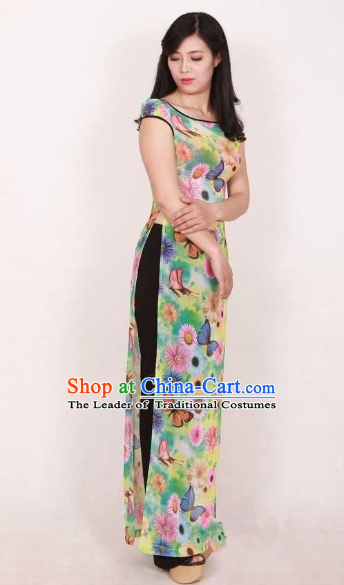 Top Grade Asian Vietnamese Traditional Dress, Vietnam National Dowager Ao Dai Dress, Vietnam Chiffon Dress and Pants Complete Set Cheongsam Clothing for Woman
