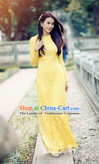 Top Grade Asian Vietnamese Traditional Dress, Vietnam National Dowager Ao Dai Dress, Vietnam Yellow Dress and Pants Complete Set Cheongsam Clothing for Woman