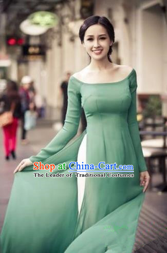 Top Grade Asian Vietnamese Traditional Dress, Vietnam National Dowager Ao Dai Dress, Vietnam Green Dress and Pants Complete Set Cheongsam Clothing for Woman