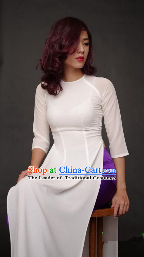 Top Grade Asian Vietnamese Traditional Dress, Vietnam National Dowager Ao Dai Dress, Vietnam White Dress and Satin Pants Complete Set Cheongsam Clothing for Woman