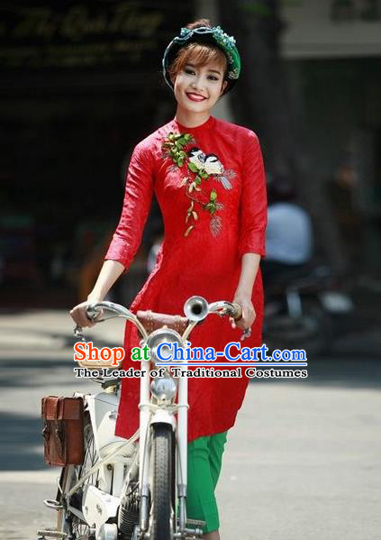 Top Grade Asian Vietnamese Traditional Dress, Vietnam National Female Ao Dai Dress, Vietnam Princess Red Cheongsam and Pants Wedding Clothing for Women