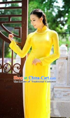 Top Grade Asian Vietnamese Traditional Dress, Vietnam National Dowager Ao Dai Dress, Vietnam Yellow Silk Cheongsam Dress and Pants Complete Set for Woman