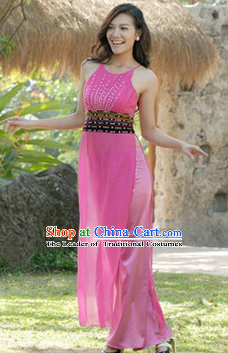 Top Grade Asian Vietnamese Traditional Dress, Vietnam National Young Lady Ao Dai Dress, Vietnam Bride Pink Cheongsam and Pants Wedding Clothing for Women