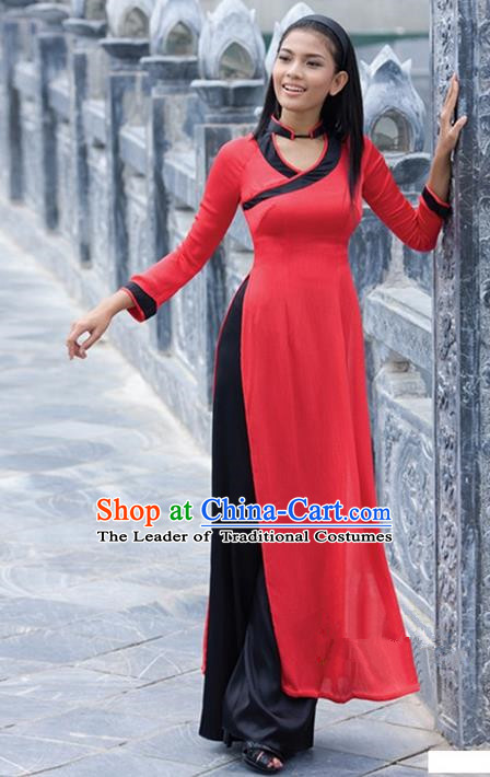 Top Grade Asian Vietnamese Traditional Dress, Vietnam National Young Lady Ao Dai Dress, Vietnam Bride Red Cheongsam and Pants Clothing Complete Set for Women