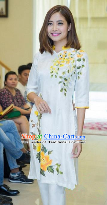 Top Grade Asian Vietnamese Traditional Dress, Vietnam National Young Lady Ao Dai Dress, Vietnam Bride White Cheongsam Printing Blouse for Women
