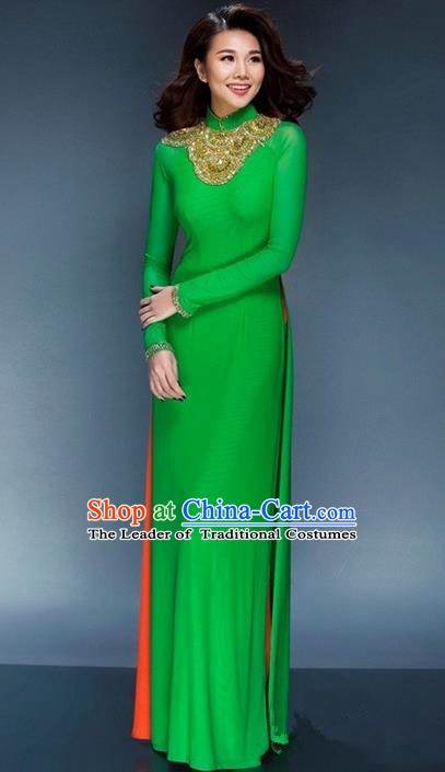 Top Grade Asian Vietnamese Traditional Dress, Vietnam National Young Lady Ao Dai Dress, Vietnam Bride Green Cheongsam and Pants Complete Set for Women