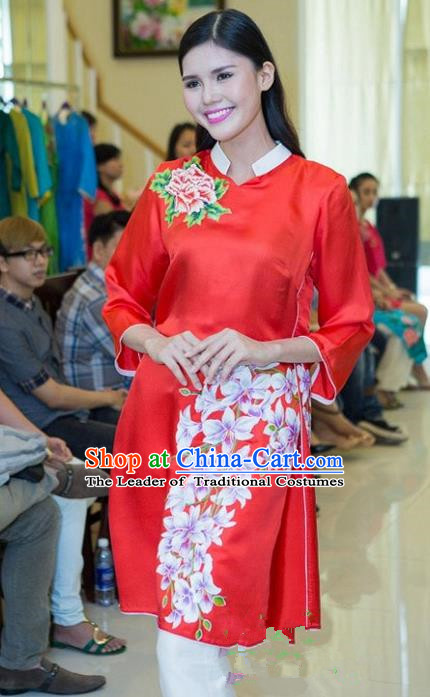Top Grade Asian Vietnamese Traditional Dress, Vietnam National Young Lady Ao Dai Dress, Vietnam Bride Red Cheongsam Printing Blouse for Women