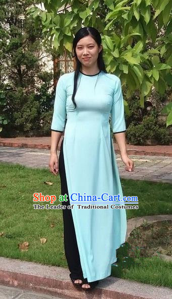 Top Grade Asian Vietnamese Traditional Dress, Vietnam National Young Lady Ao Dai Dress, Vietnam Bride Blue Cheongsam and Pants Complete Set for Women