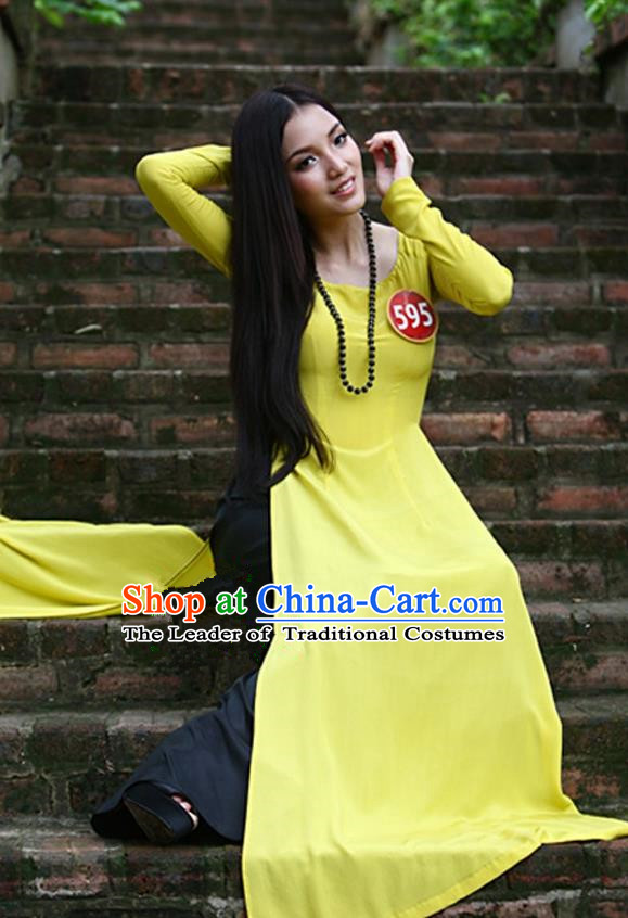 Top Grade Asian Vietnamese Traditional Dress, Vietnam National Young Lady Ao Dai Dress, Vietnam Bride Yellow Cheongsam and Pants Complete Set for Women