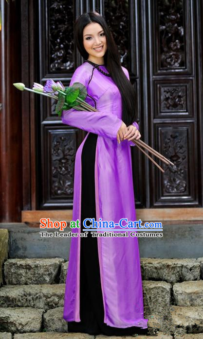 Top Grade Asian Vietnamese Traditional Dress, Vietnam National Young Lady Ao Dai Dress, Vietnam Bride Purple Cheongsam and Pants Complete Set for Women