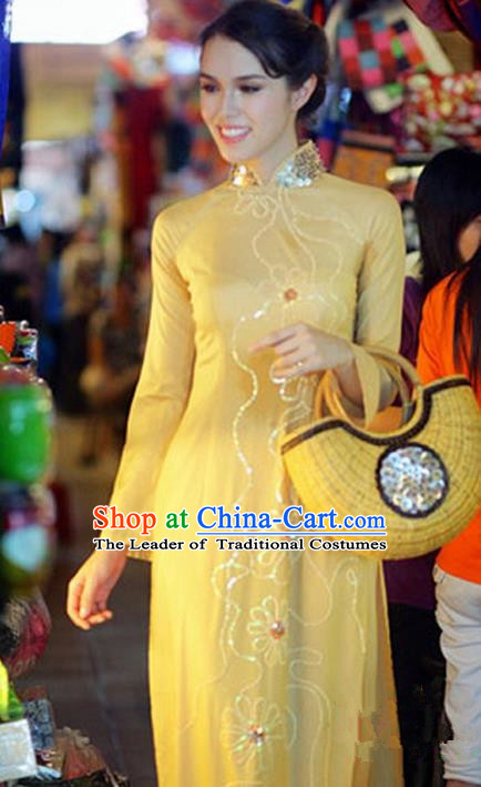 Top Grade Asian Vietnamese Traditional Dress, Vietnam National Young Lady Ao Dai Dress, Vietnam Queen Golden Cheongsam and Pants Complete Set for Women