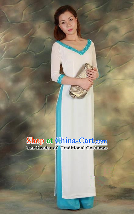 Top Grade Asian Vietnamese Traditional Dress, Vietnam National Young Lady Ao Dai Dress, Vietnam Queen White Cheongsam and Pants Complete Set for Women