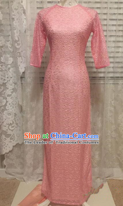 Top Grade Asian Vietnamese Traditional Dress, Vietnam National Young Lady Ao Dai Dress, Vietnam Lady Pink Lace Cheongsam for Women