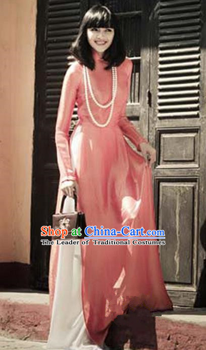 Top Grade Asian Vietnamese Traditional Dress, Vietnam National Young Lady Ao Dai Dress, Vietnam Lady Pink Cheongsam and Pants Complete Set for Women