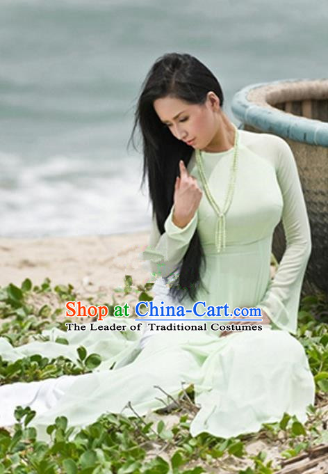 Top Grade Asian Vietnamese Traditional Dress, Vietnam National Princess Young Lady Ao Dai Dress, Vietnam Lady Green Cheongsam and Pants Complete Set for Women