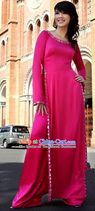 Top Grade Asian Vietnamese Traditional Dress, Vietnam National Princess Young Lady Ao Dai Dress, Vietnam Lady Rose Cheongsam and Pants Complete Set for Women