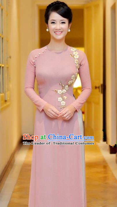 Top Grade Asian Vietnamese Traditional Dress, Vietnam National Princess Young Lady Ao Dai Dress, Vietnam Lady Pink Embroider Plum blossom Cheongsam and Pants Complete Set for Women