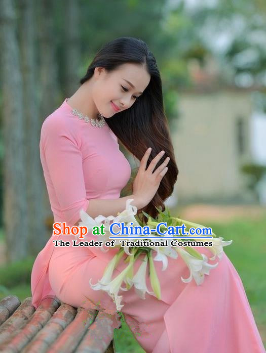 Top Grade Asian Vietnamese Traditional Dress, Vietnam National Young Lady Ao Dai Dress, Vietnam Princess Pink Chiffon Cheongsam for Women