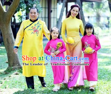 Top Grade Asian Vietnamese Traditional Dress, Vietnam National Family Ao Dai Dress, Vietnam Parent-child Outfit Cheongsam Clothing Complete Set