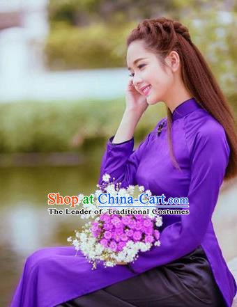 Top Grade Asian Vietnamese Traditional Dress, Vietnam National Female Ao Dai Dress, Vietnam Princess Purple Silk Cheongsam Wedding Clothing for Women