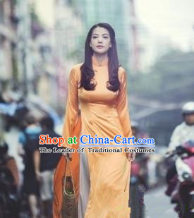 Top Grade Asian Vietnamese Traditional Dress, Vietnam National Female Ao Dai Dress, Vietnam Princess Orange Silk Cheongsam Wedding Clothing for Women