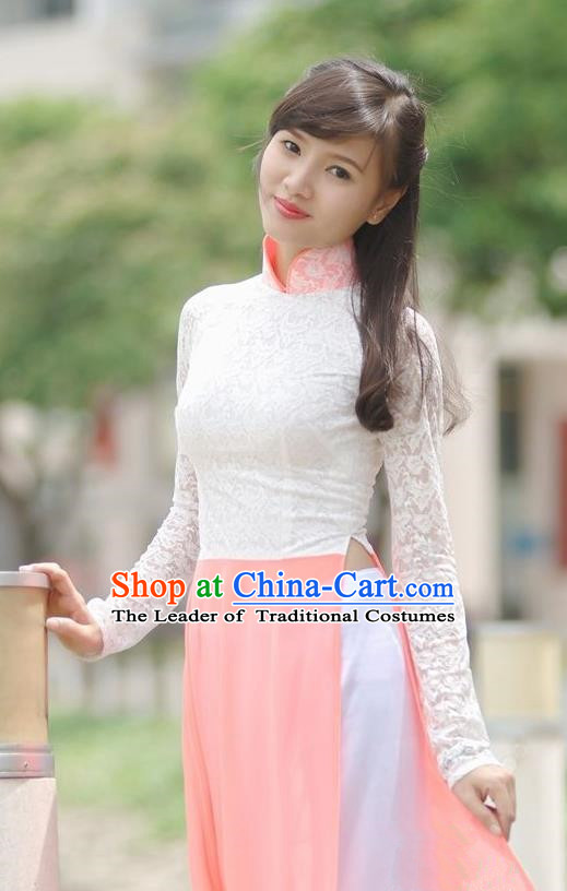 Top Grade Asian Vietnamese Traditional Dress, Vietnam National Young Lady Ao Dai Dress, Vietnam Princess Lace Cheongsam and Pants Complete Set for Women