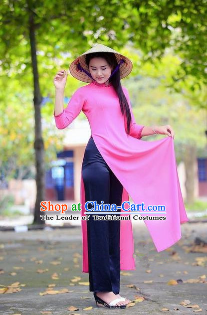 Top Grade Asian Vietnamese Traditional Dress, Vietnam National Young Lady Ao Dai Dress, Vietnam Princess Pink Cheongsam Dress for Women
