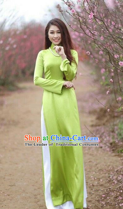 Top Grade Asian Vietnamese Traditional Dress, Vietnam National Young Lady Ao Dai Dress, Vietnam Princess Green Cheongsam Dress and Pants for Women