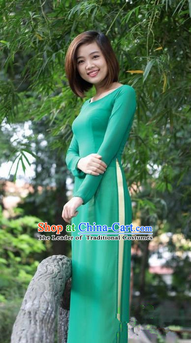 Top Grade Asian Vietnamese Traditional Dress, Vietnam National Young Lady Ao Dai Dress, Vietnam Princess Green Chiffon Cheongsam Dress and Pants for Women
