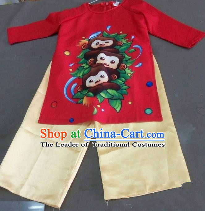 Top Grade Asian Vietnamese Traditional Monkey Costume, Vietnam National Boys Ao Dai Dress and Pants, Vietnam Children Clothing Complete Set
