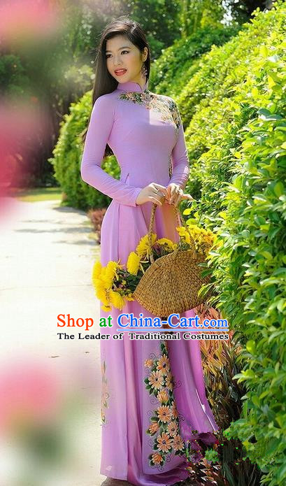 Top Grade Asian Vietnamese Traditional Dress, Vietnam National Dowager Ao Dai Dress, Vietnam Pink Dress Printing Daisy Cheongsam Clothing for Woman