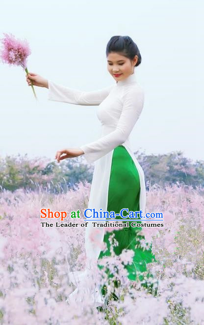 Top Grade Asian Vietnamese Traditional Dress, Vietnam National Dowager Ao Dai Dress, Vietnam White Dress and Pants Cheongsam Clothing for Woman
