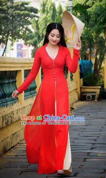 Top Grade Asian Vietnamese Traditional Dress, Vietnam National Dowager Ao Dai Dress, Vietnam Red Chiffon Cheongsam and Pants Clothing for Woman