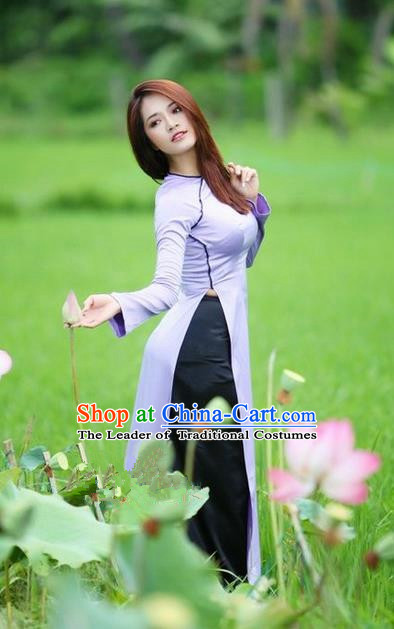 Top Grade Asian Vietnamese Traditional Dress, Vietnam National Dowager Ao Dai Dress, Vietnam Purple Silk Cheongsam Dress and Pants for Woman