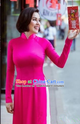 Top Grade Asian Vietnamese Traditional Dress, Vietnam National Dowager Ao Dai Dress, Vietnam Rose Ao Dai Cheongsam Dress and Pants for Woman
