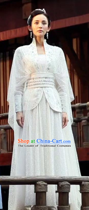 Chinese Ancient Tang Dynasty Peri Princess Costume and Headwear, Fighter of the Destiny Traditional Chinese Ancient Saintess Clothing Complete Set