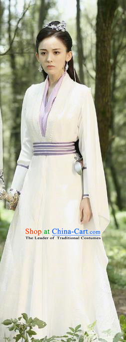 Chinese Ancient Tang Dynasty Peri Goddess Costume and Headwear Complete Set, Fighter of the Destiny Traditional Chinese Ancient Princess Clothing for Women