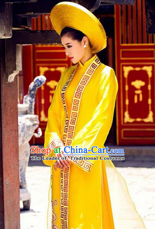 Top Grade Asian Vietnamese Traditional Dress, Vietnam National Queen Ao Dai Dress, Vietnam Bride Wedding Ao Dai Cheongsam Dress Clothing for Woman