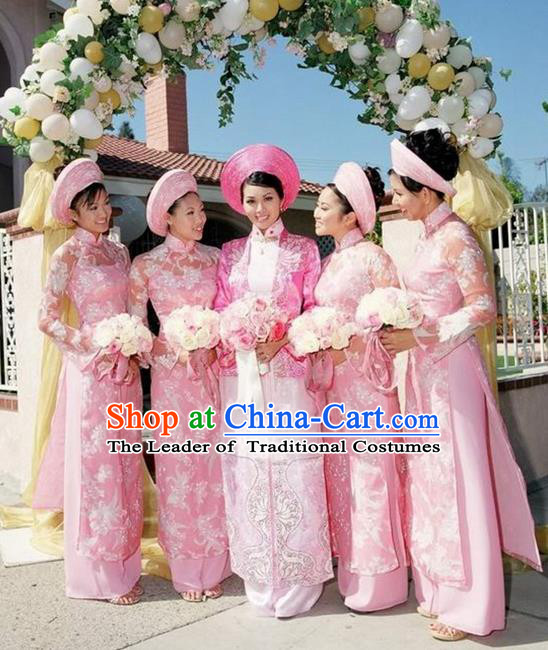 Top Grade Asian Vietnamese Traditional Dress, Vietnam National Princess Ao Dai Dress, Vietnam Bride Pink Ao Dai Cheongsam Dress Clothing for Woman