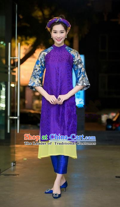 Top Grade Asian Vietnamese Traditional Dress, Vietnam National Princess Ao Dai Dress, Vietnam Purple Ao Dai Cheongsam Dress Headwear Clothing Complete Set for Woman