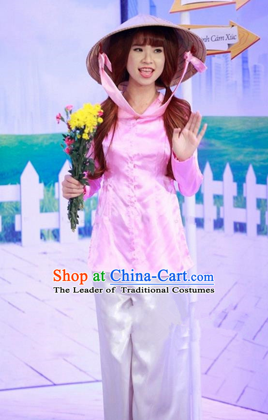 Top Grade Asian Vietnamese Traditional Dress, Vietnam National Farmwife Ao Dai Dress, Vietnam Pink Ao Dai Blouse and Pants for Woman