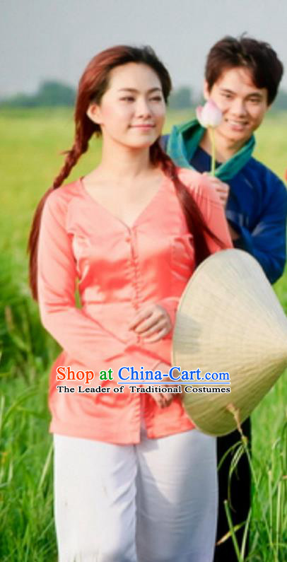 Top Grade Asian Vietnamese Traditional Dress, Vietnam National Farmwife Ao Dai Dress, Vietnam Rose Ao Dai Blouse and Pants for Woman